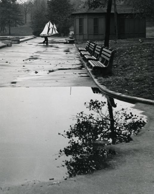 André Kertész -  East Walk of Conservatory Pond, Central Park, 1944