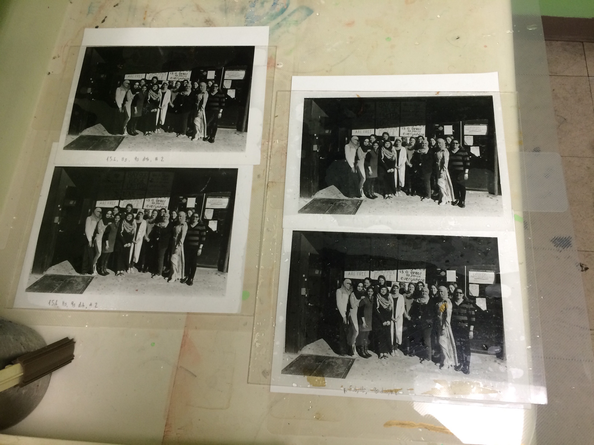 Darkroom: The four finished prints drying