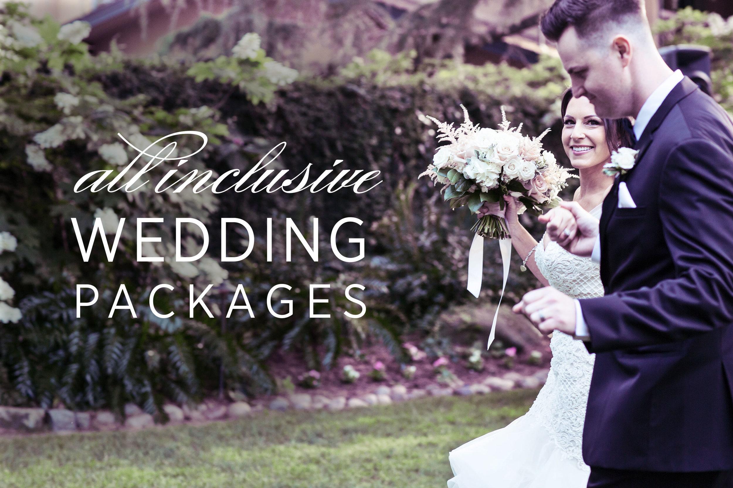 photo of bride and groom walking through wedding garden