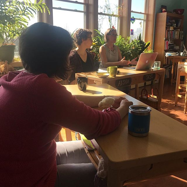Teacher meetings sometimes include special guests #chicks #ithacawaldorfschool #waldorfeducation #teacherlife