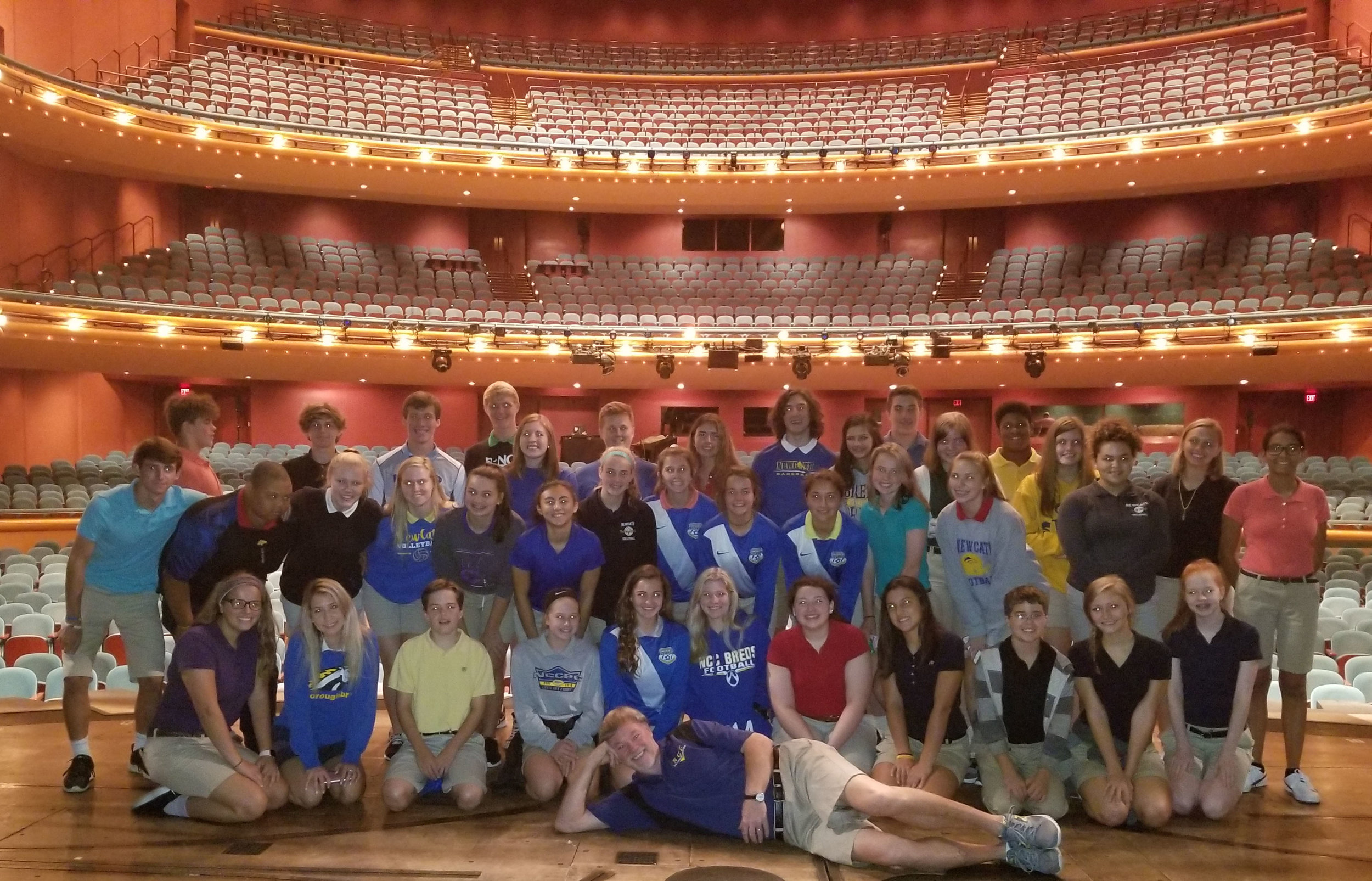 "Mr. Gary Devoto's Theater and Music Classes receive a private tour of Aronoff and ""Wicked"" set from Technical Director, Mr. Bob Haas, '75."