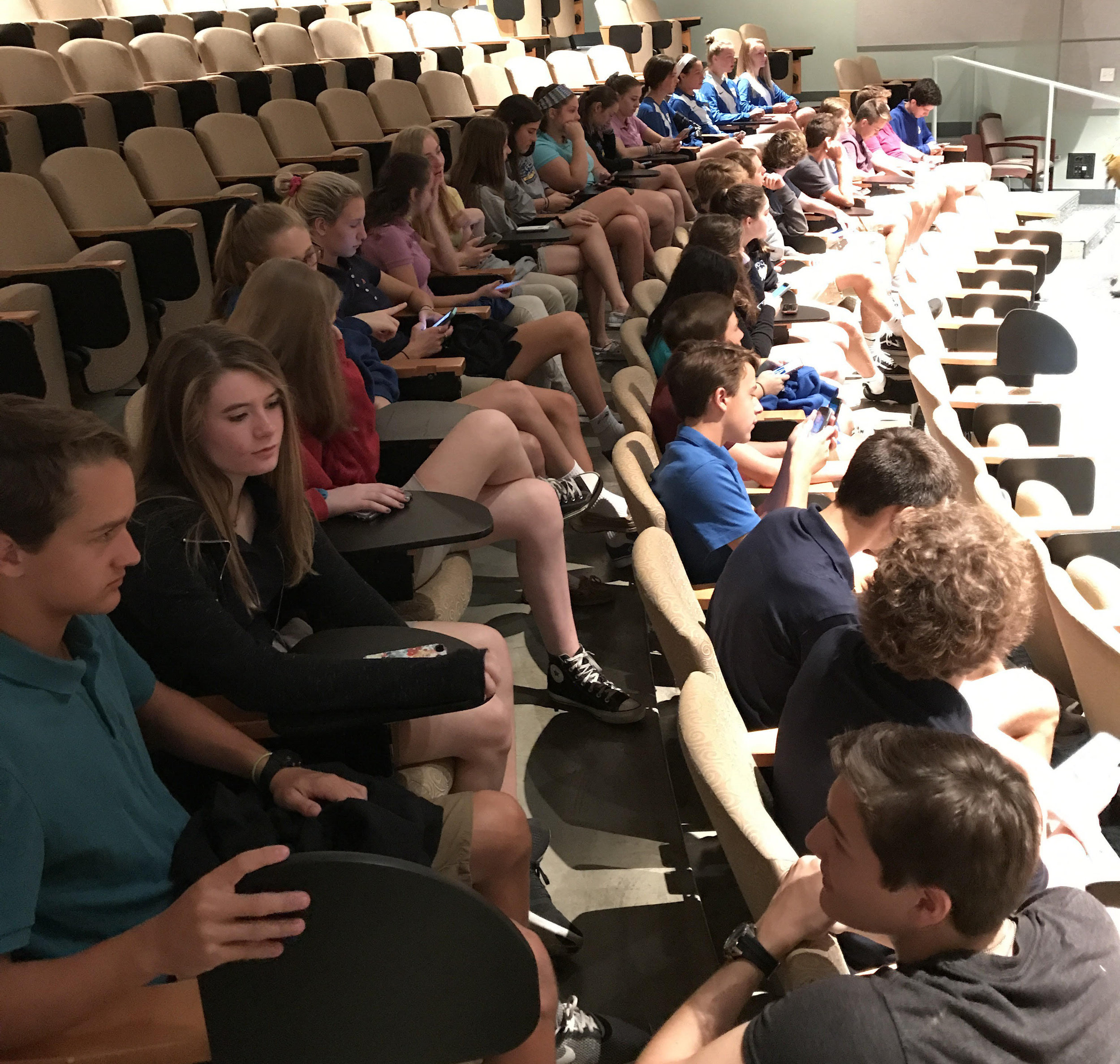"""NCC English Honors Students waiting for the performance, 'The Merry Wives of Windsor."""""""