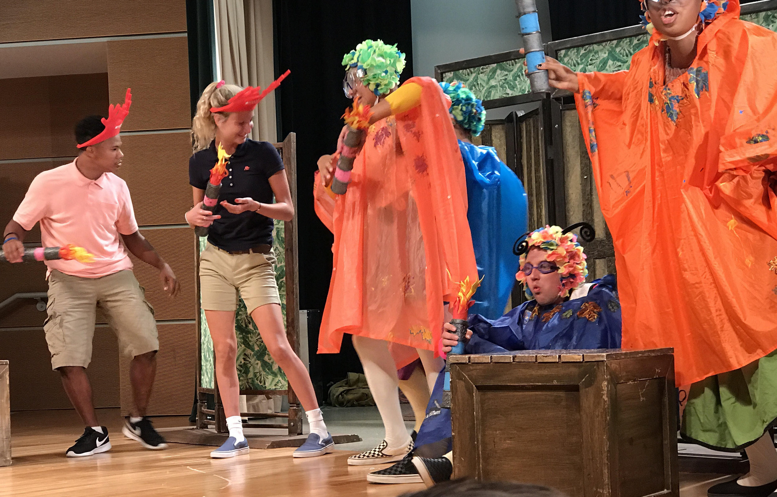 """Sophomore Piper Murphy was chosen for audience participation in the performance, 'The Merry Wives of Windsor."""" at Cincinnati State during the field trip."""