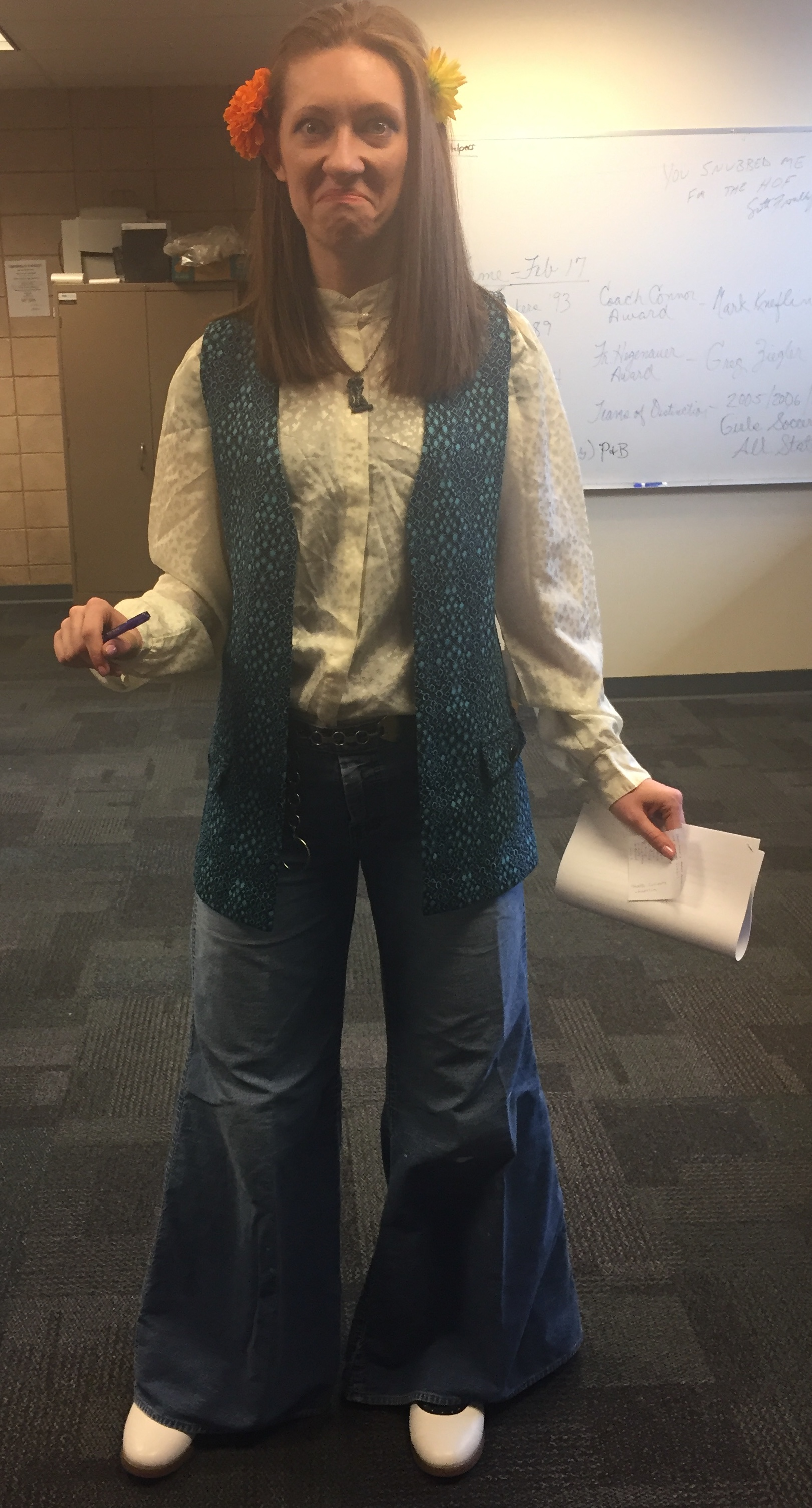 Ms.Katrina Hlebiczki, a 2012 NCC graduate and 1st year Mathematics Teacher at NCC dresses up according to the day's theme during Catholic School's Week.