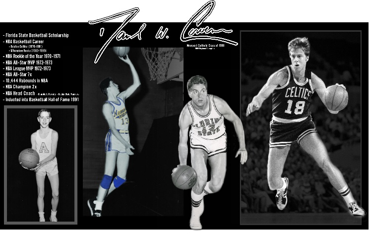 After breaking the school's career rebound record at Newport Catholic, he went on to find successes in the NBA playing for the Boston Celtics. He earned NBA Rookie of the Year in 1970-71 season, NBA MVP 1972-73, was a seven time NBA All Star and inducted into the Basketball Hall of Fame in 1991.