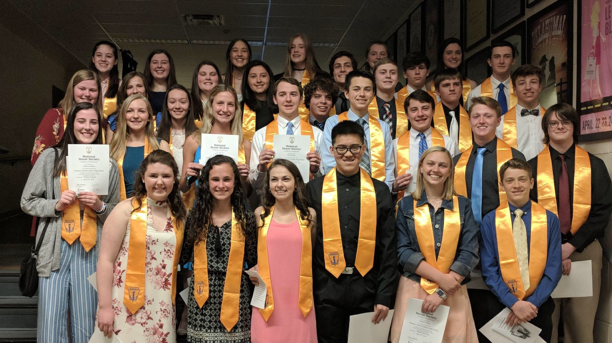Membership is based on the four pillars of the National Honor Society: Character, Service, Leadership, and Scholarship. The faculty advisory committee reviewed applications and chose to induct these students because of their high level of achievement in each of the four categories. Congratulations to all new members and officers.