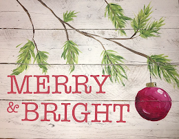 Option to create your Merry and Bright artwork on a circular piece of wood (bourbon barrel lid).