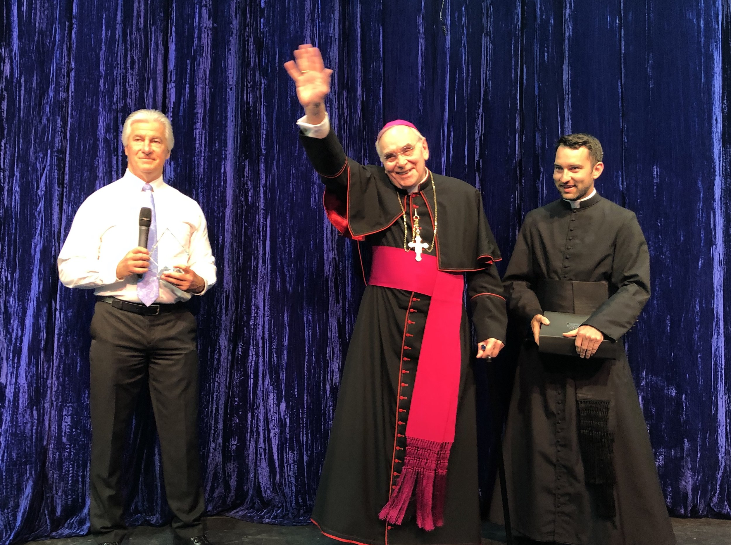 "Bishop Foys congratulated the cast and crew and addressed the NCC student body and grade school guests. He said in part, ""Newport Central Catholic is a jewel in the crown of our Diocese. Be thankful for all that you have here and enjoy this special chapter because life goes fast."""