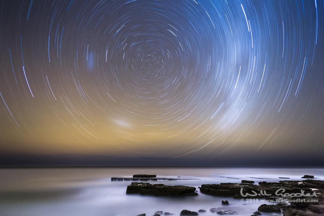 1 Hour single exposure Star Trail. Wild Coast, South Africa