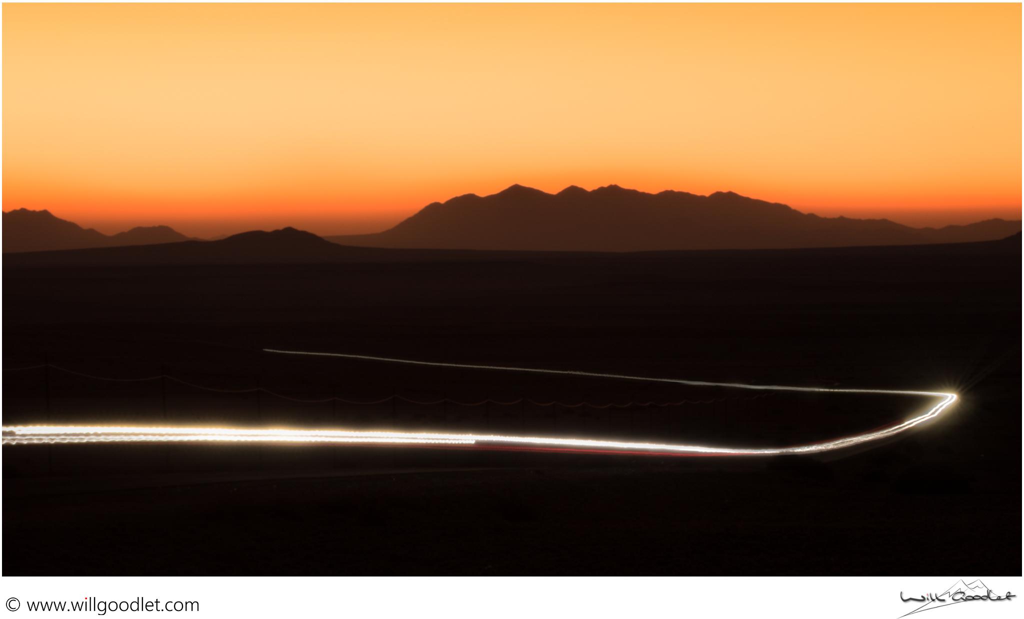 Desert road at sunset, Aus, Namibia.