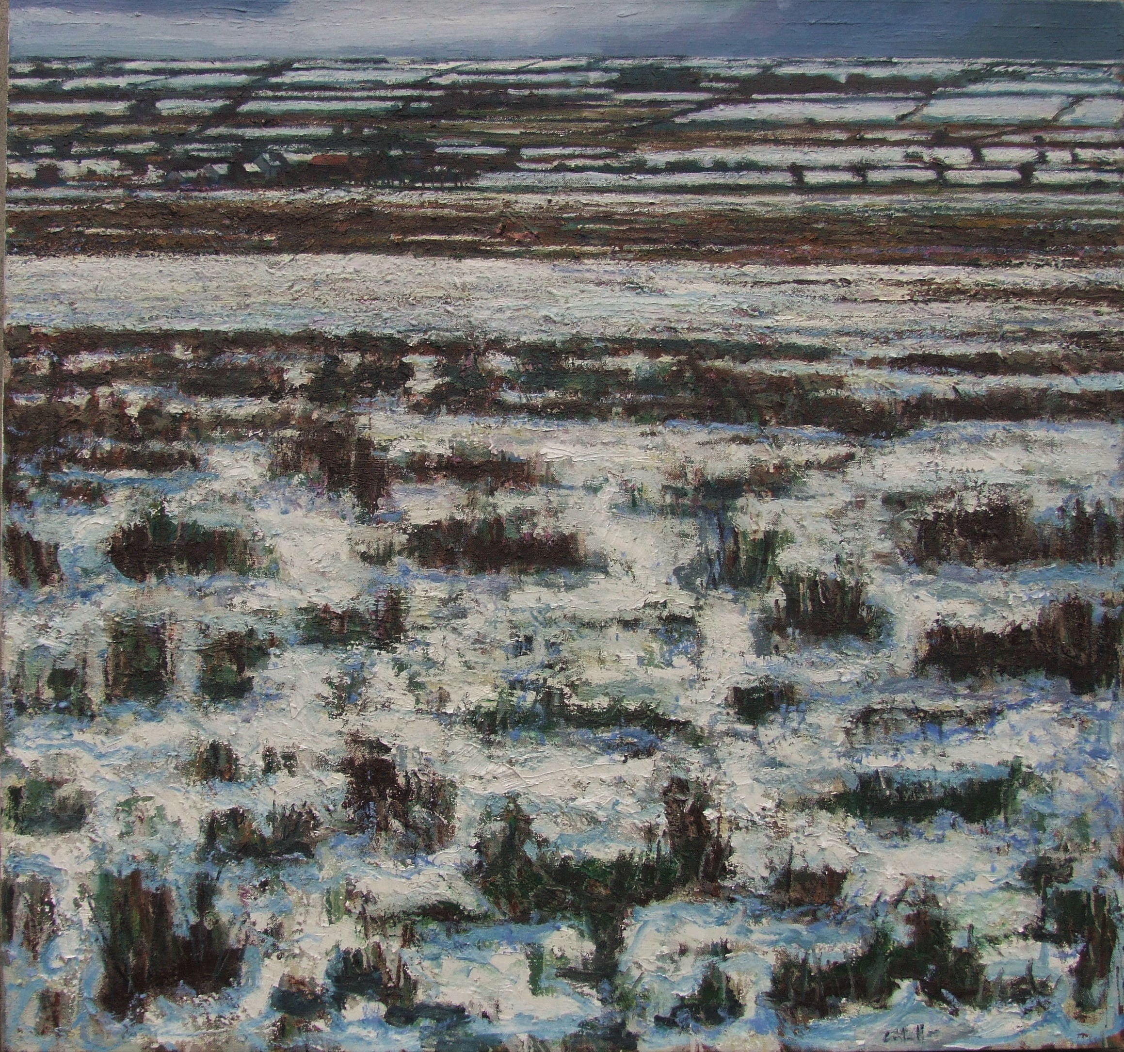 Fields near Frenchpark, Winter, 2016, oil on canvas, 141 x 151 cm