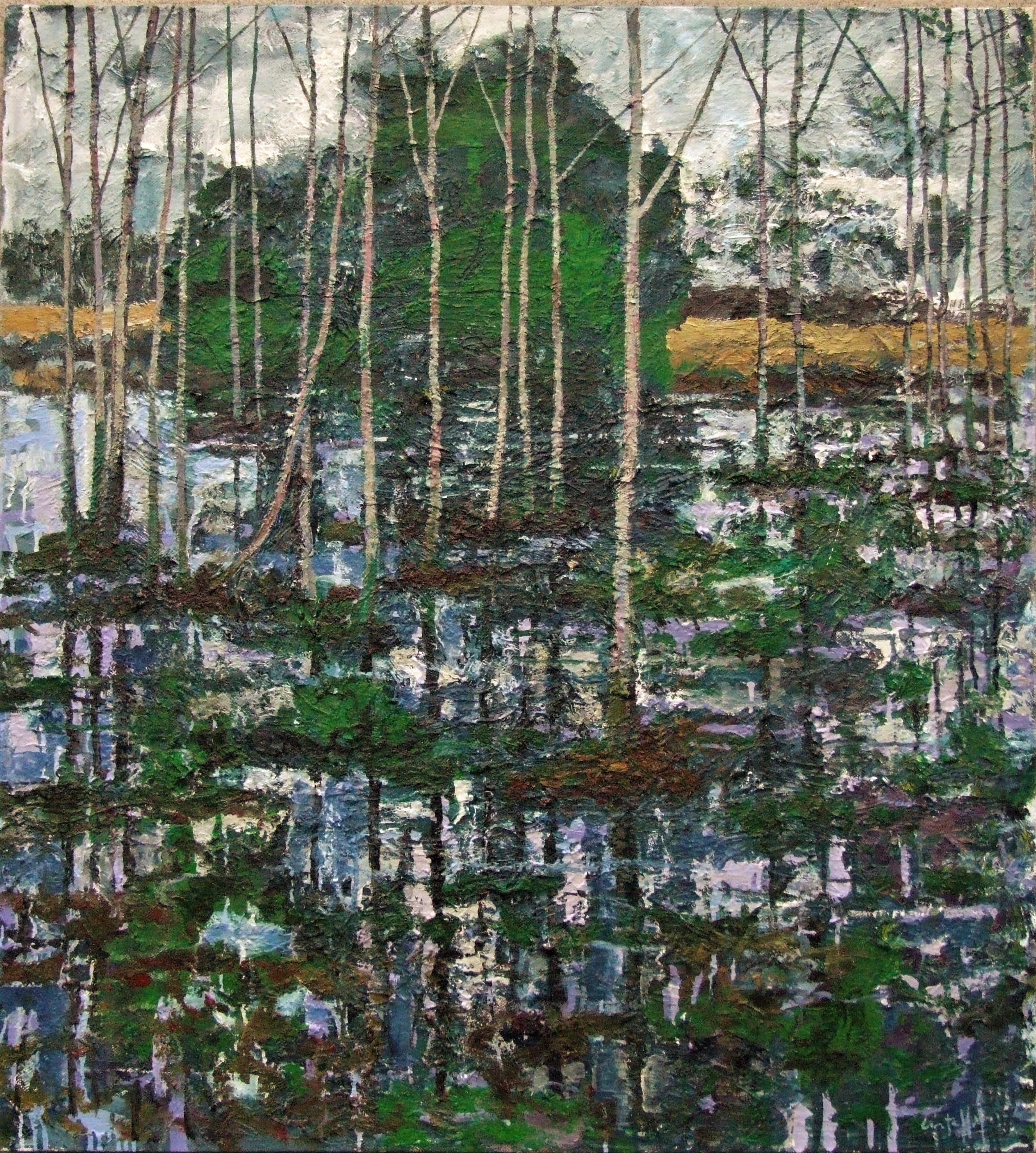 Near the River, Flooded fields and trees, 2016, oil on canvas, 110 x 100 cm