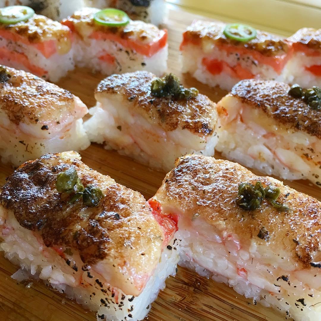 Kani-Ume Oshi sushi (foreground) | Salmon Oshi Sushi (Background)