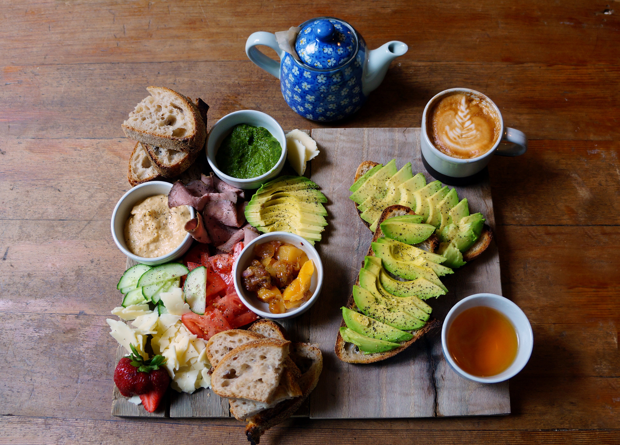 Picnic Board (left) | Avocado Toast (right) |Cappucino (top right) |Tea (bottom right)