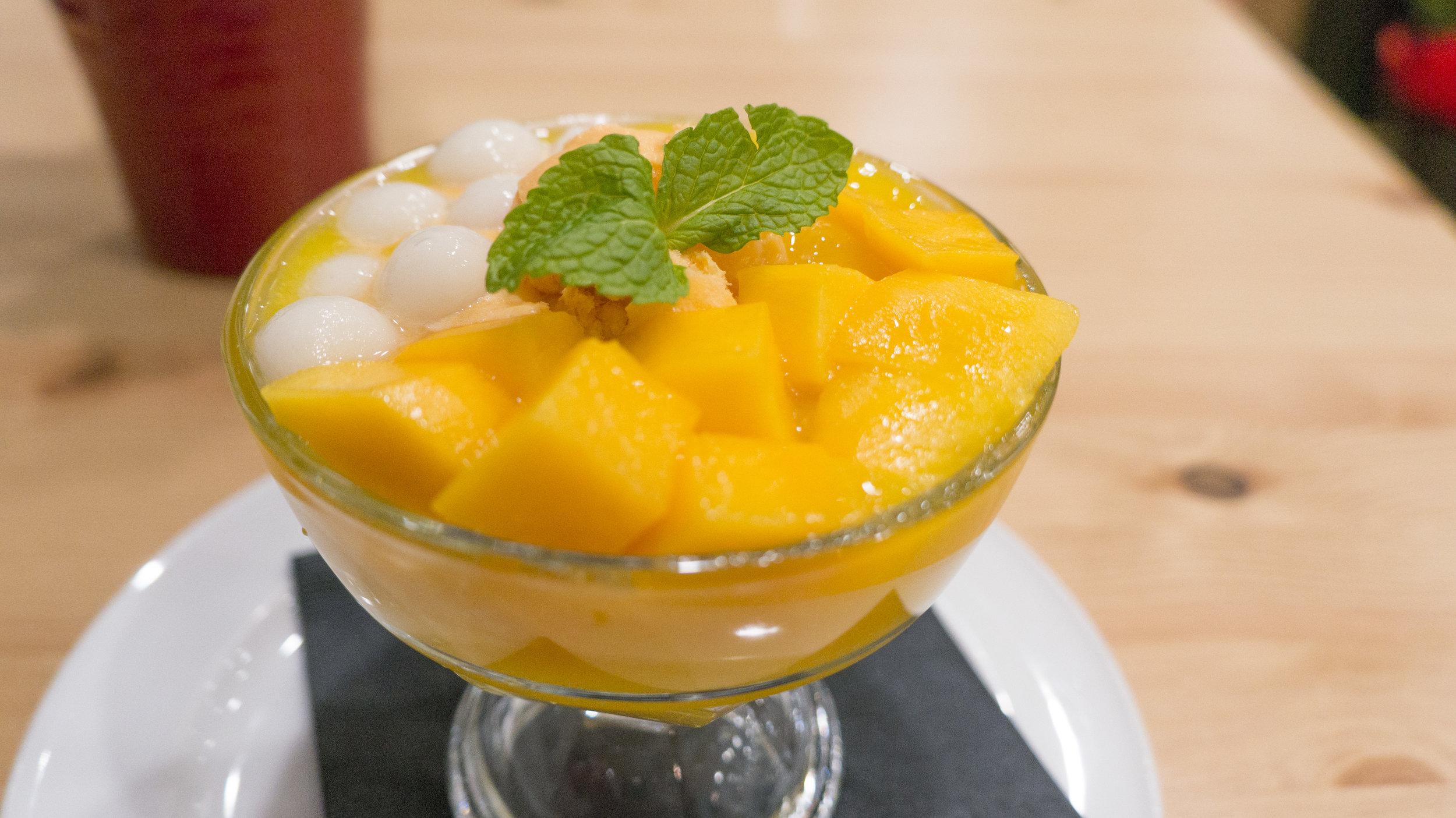Fresh Mango, Mango Puree, Sago, Rice Ball, and Mango Ice Cream | $9.5