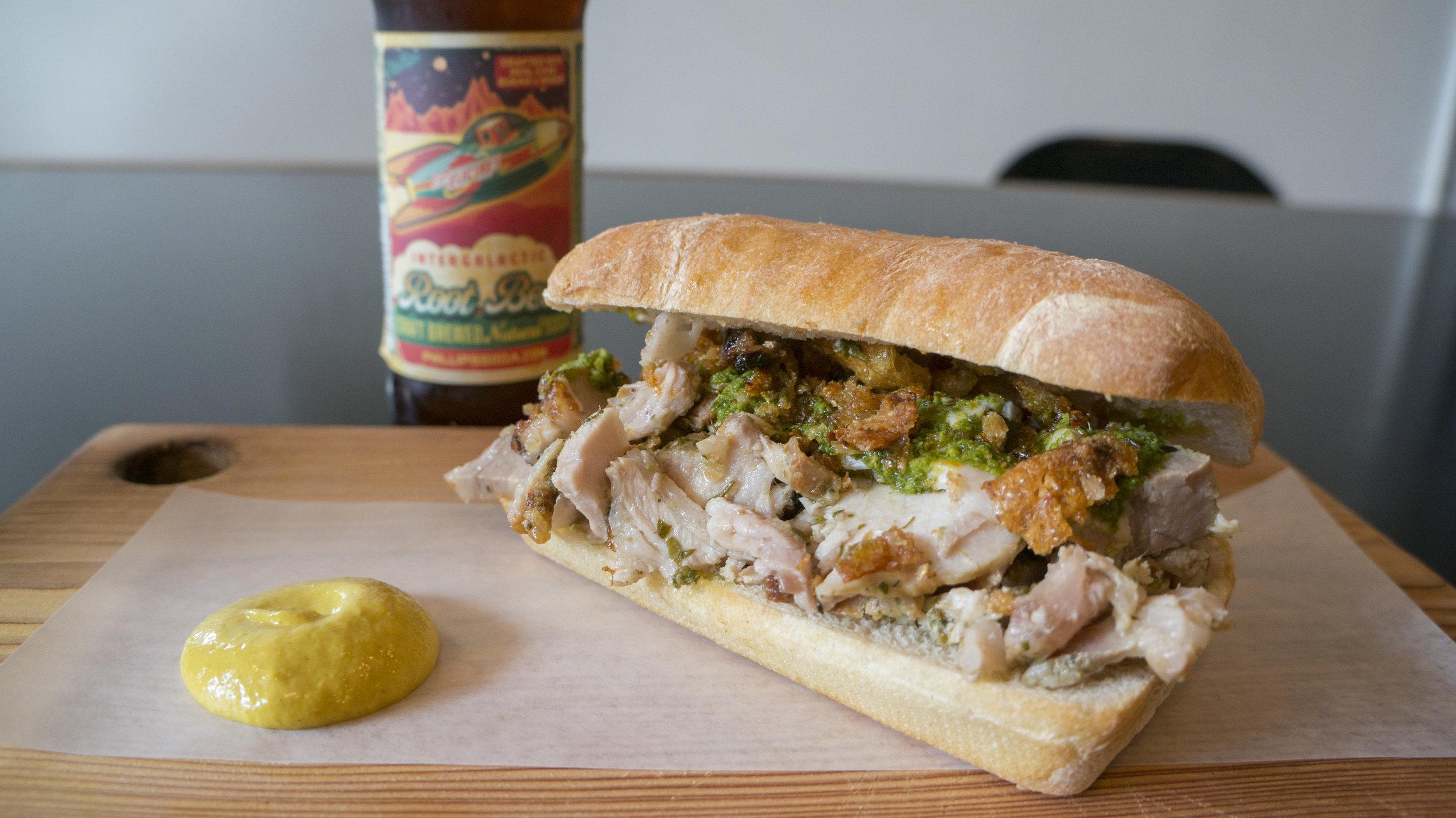 Porchetta Sandwich with Phillip's Craft Rootbeer