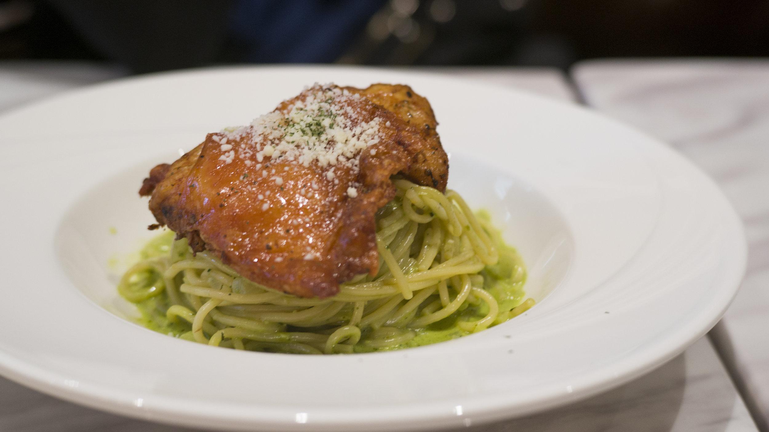Chicken Spaghetti & Pesto Sauce | $13.5