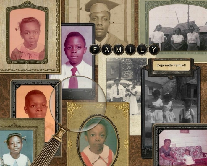 Shirley Dejarnette Wyatt used the Heritage template to beautifully display the Dejarnette family in collage form!Check out her whole genealogy album  here .