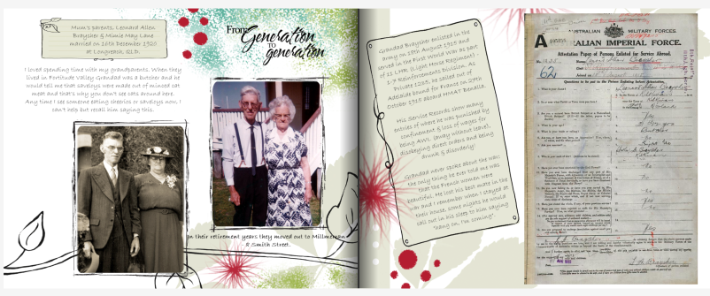 Two photo book pages, dedicated to my grandparents.