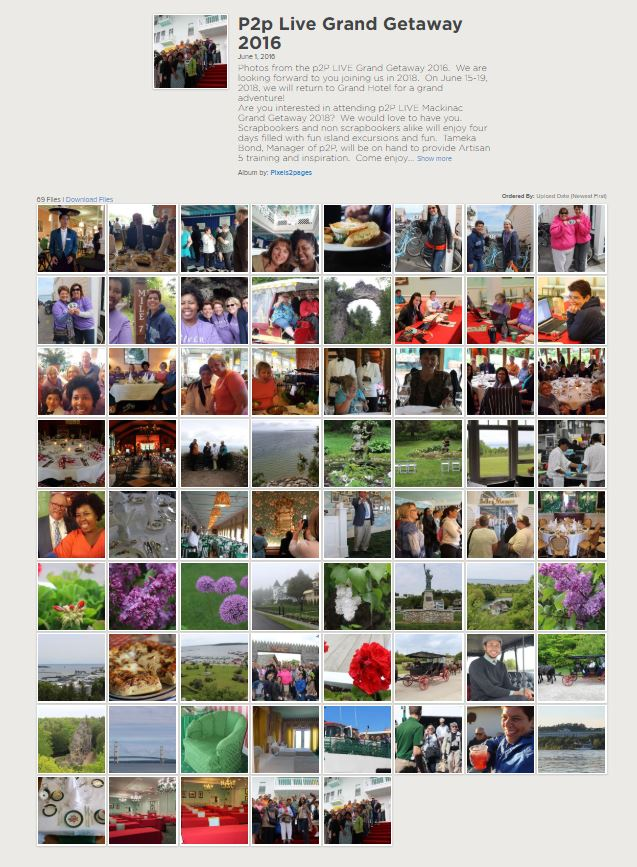 The album from our 2016 trip contained only 69 images and no nested albums.