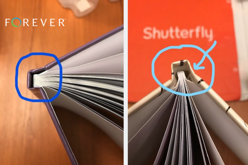 Binding of the FOREVER Photo Book vs Shutterfly