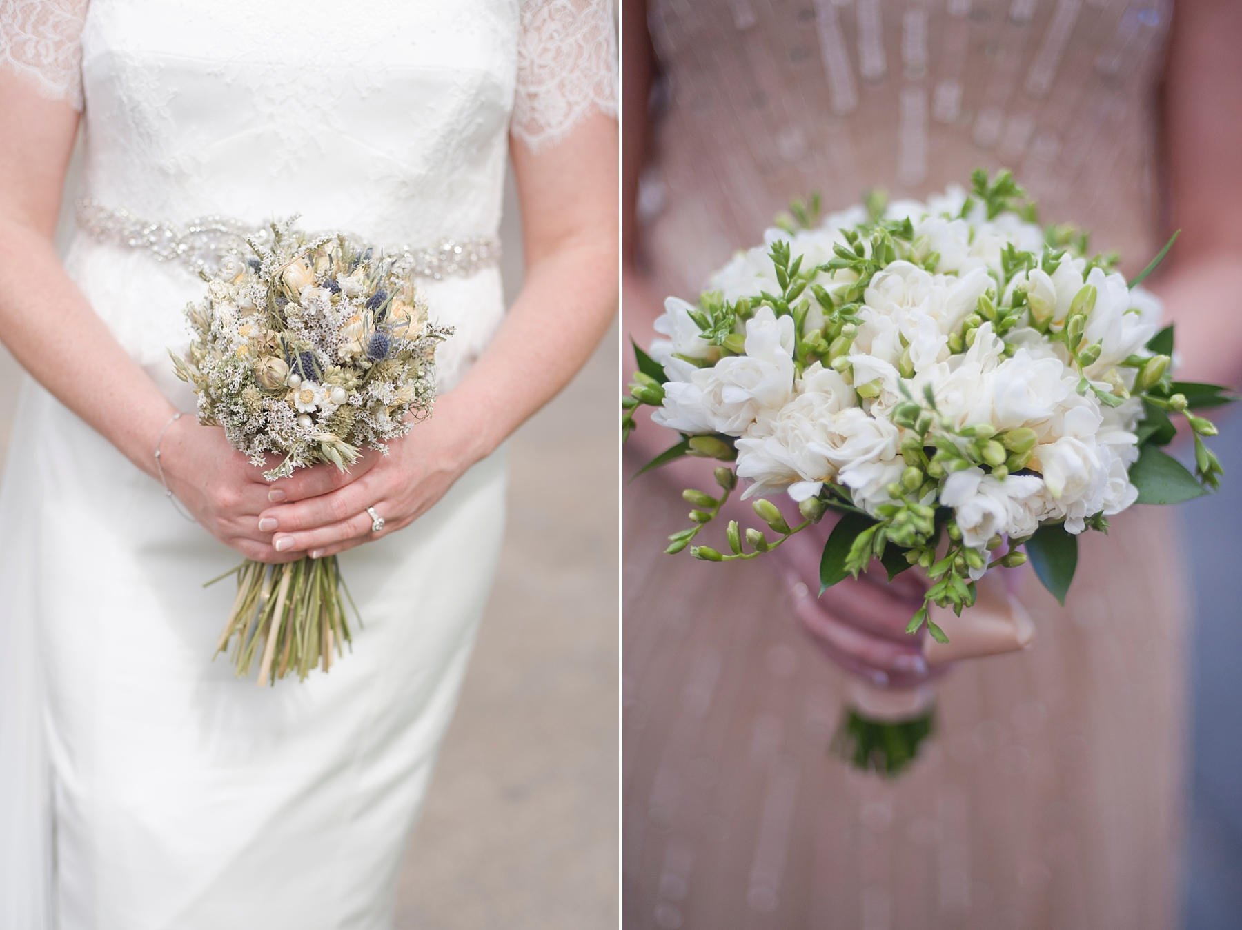 Left Bouquet: Bride brought over from England Right:  Layers of Lovely