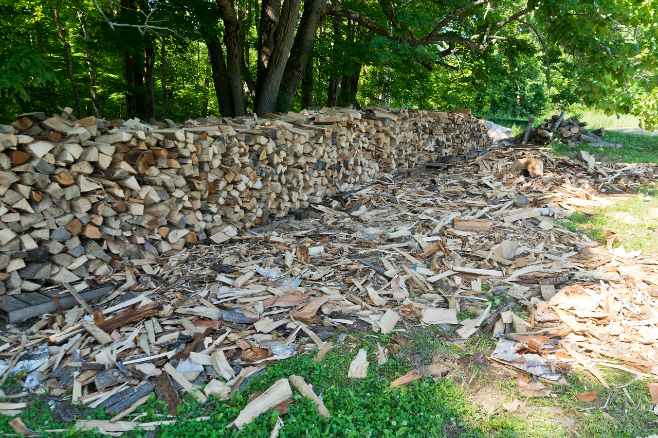 firewood for a zillion winters, photo by Adam Ford (this was a stack of about 16 cords of wood that Ryan harvested last year when we thought we were going to go the route of cord wood boiler for the tunnels. After much research and planning, we went with the pellet boiler, and now have our firewood for quite some time. All was cut, split, and stacked in one day with the help of a CSA member!