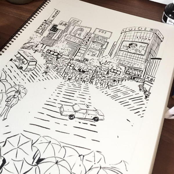 shibuya drawing sketch