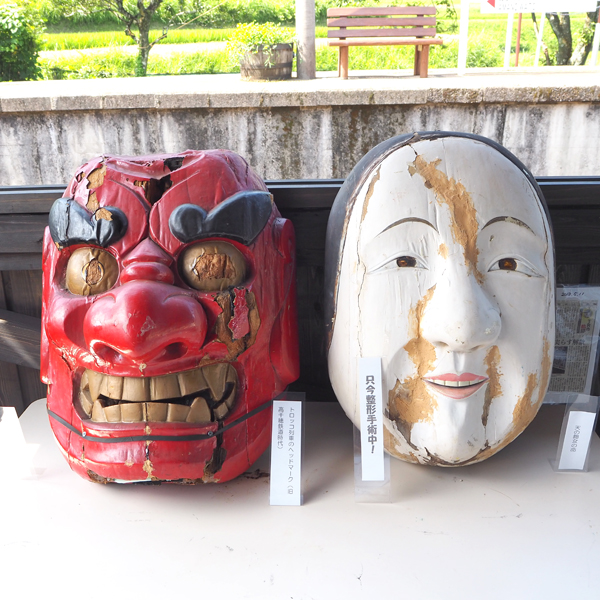 Masks of characters from the traditional folk dance at Takachiho shrine.