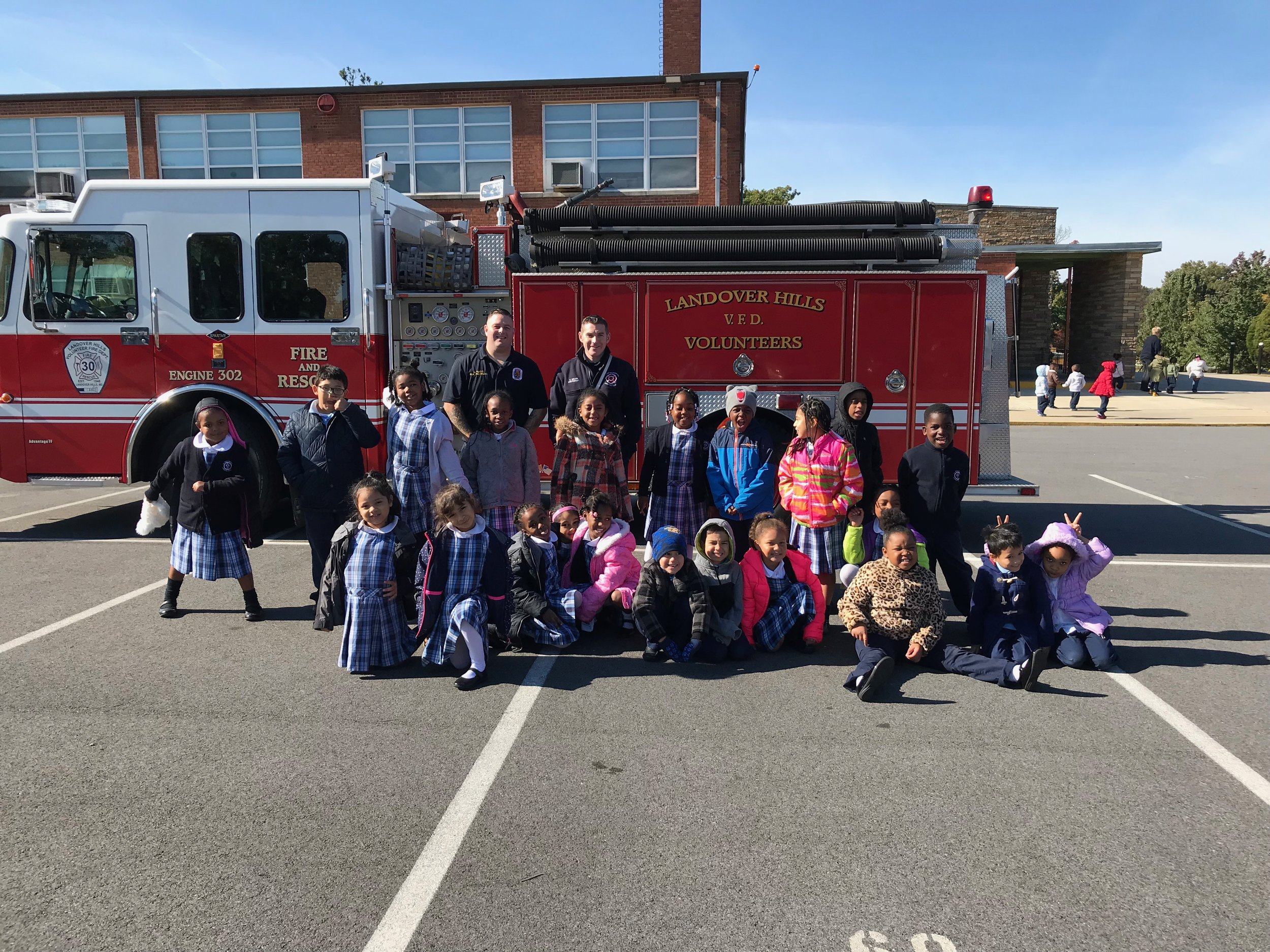 First Grade and the Landover Hills Volunteer Fire Department firefighters