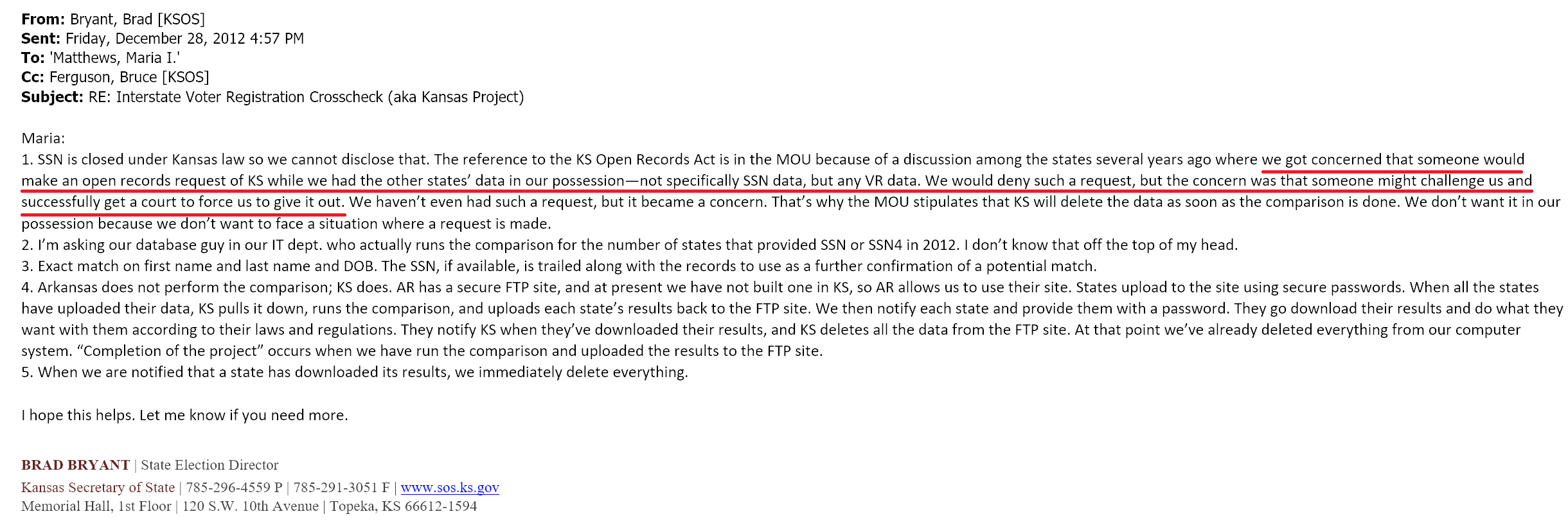 Florida is concerned... - Florida is worried that someone might sue for all state's voter data in Jan/Feb when it is all in their possession... Just a few months away!Also, Kansas' Director of Elections doesn't know who runs the Crosscheck comparisons?