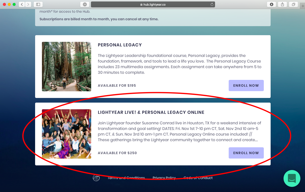 2. Choose the Lightyear LIVE! & Personal Legacy online class - This will properly sign you up for the Houston Live class and automatically enroll you in Personal Legacy on Lightyear.