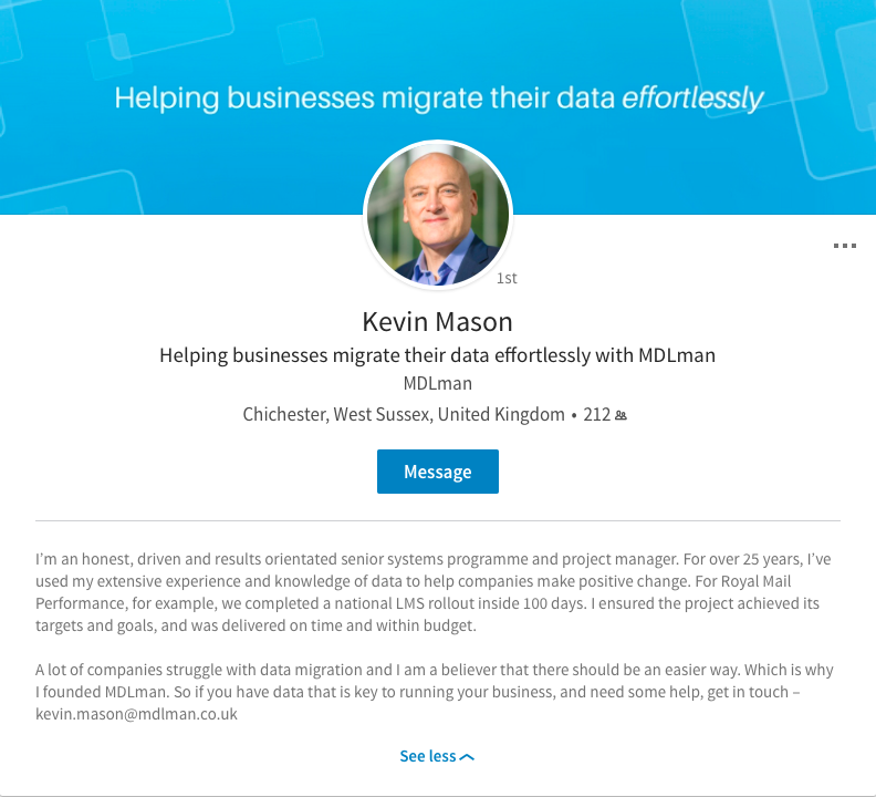 Kevin Mason - MDLman updated LinkedIn profile