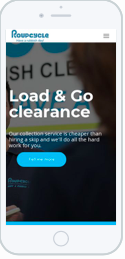 Example of a mobile friendly site, a  waste clearance company Roupcycle