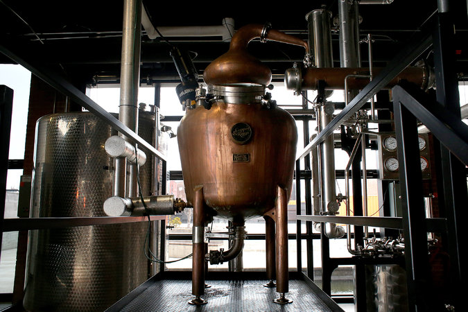 The stills at Copper & Kings are named after women in Bob Dylan songs: Isis, Magdalena and Sara. Credit: Aaron Borton for The New York Times