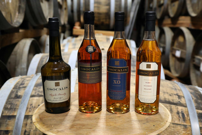 A lineup of brandies at Osocalis Distillery.CreditJim Wilson/The New York Times