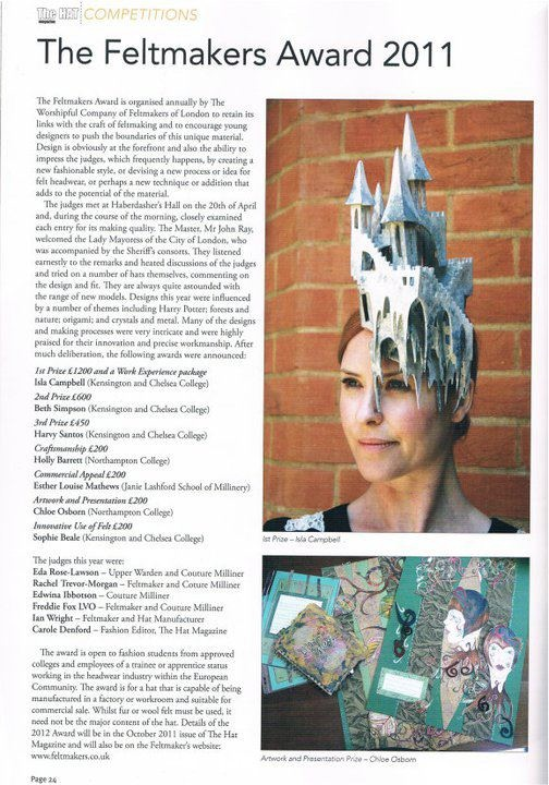 The Hat Magazine Isla Campbell Millinery Feltmakers Award 2011
