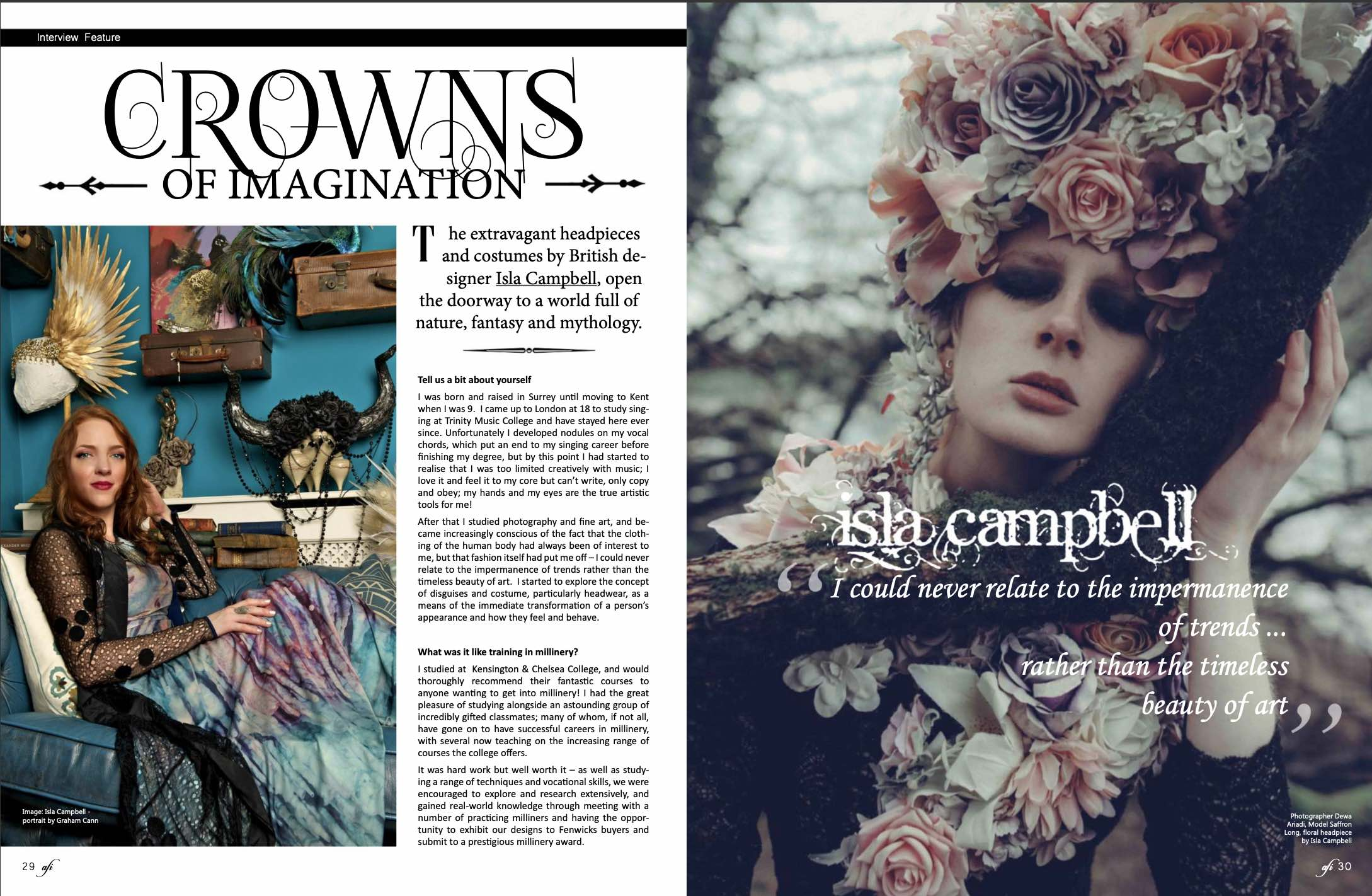 Afi Mag Magazine Isla Campbell Millinery Interview Crowns of Imagination