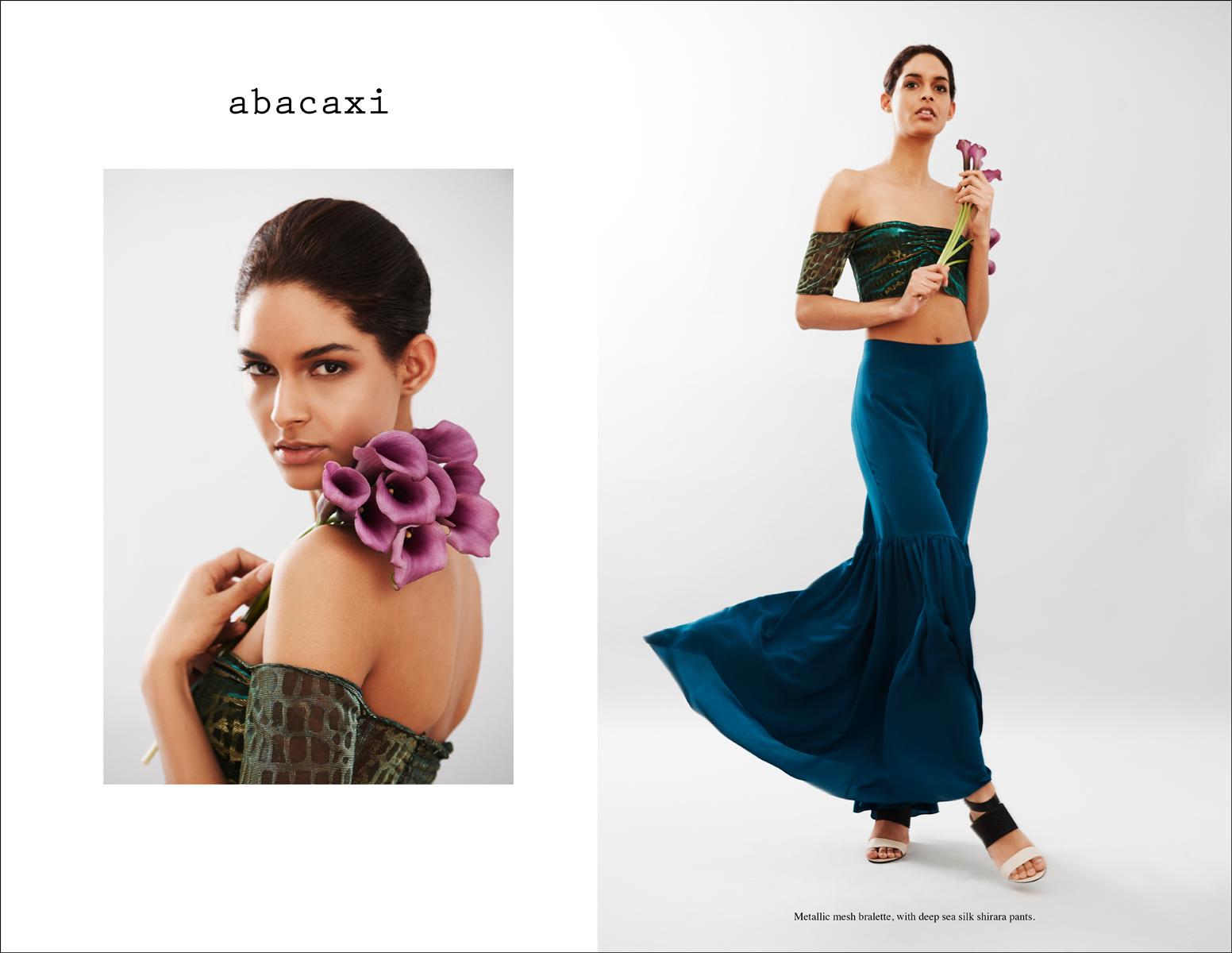 Abacaxi Metallic mesh bralette, with deep sea silk shirara pants.jpg