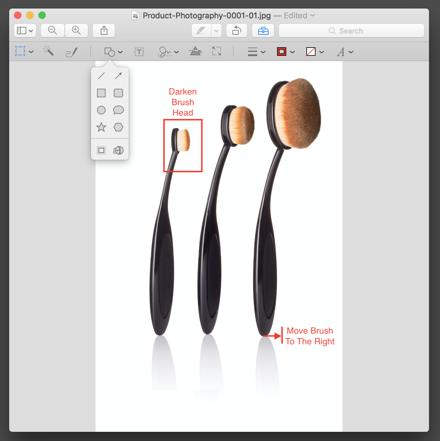 Step 3. Use the tools to add boxes, circles, arrow & text to specifically provide direction on what to change.