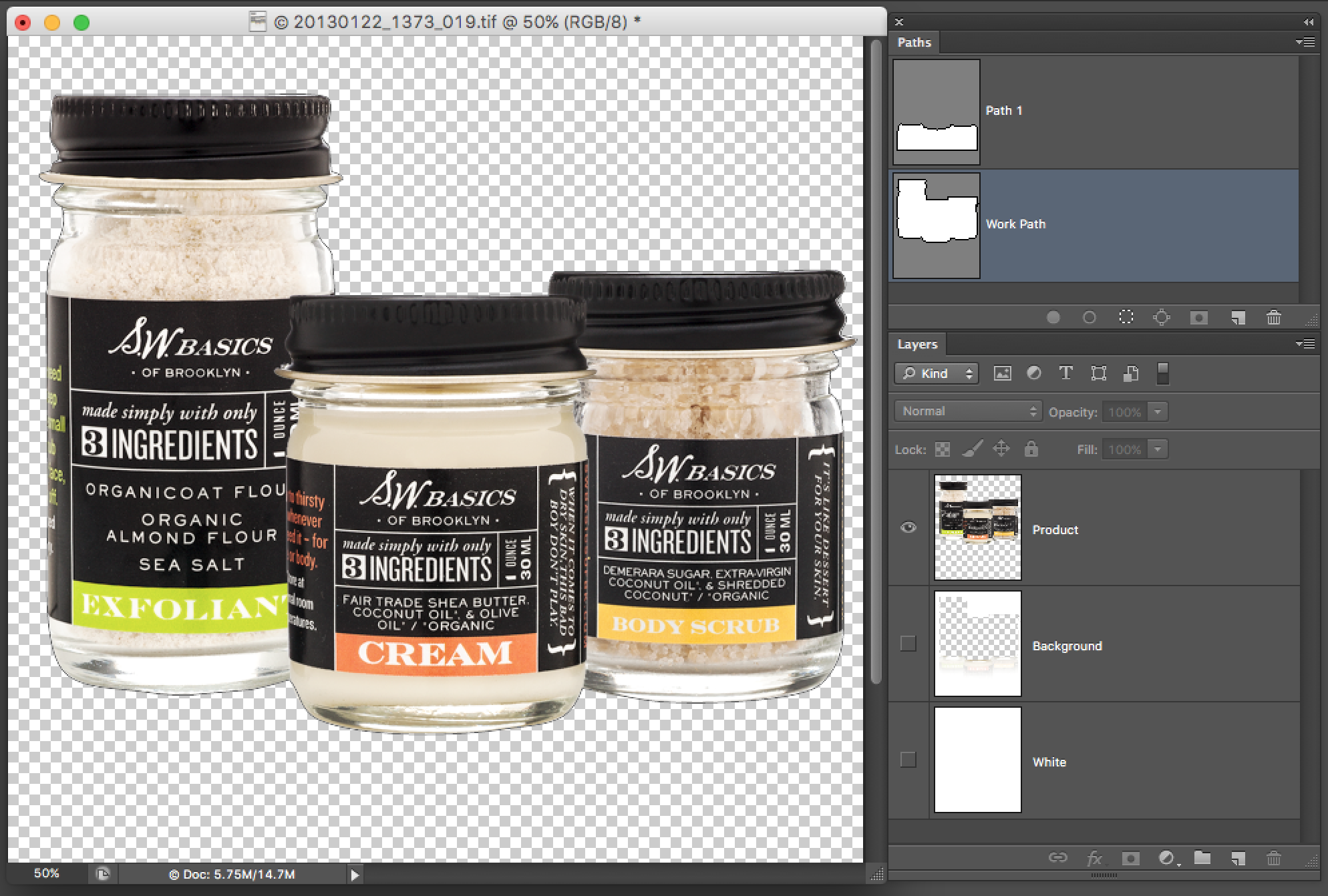 This is how the layered tif appears in Photoshop