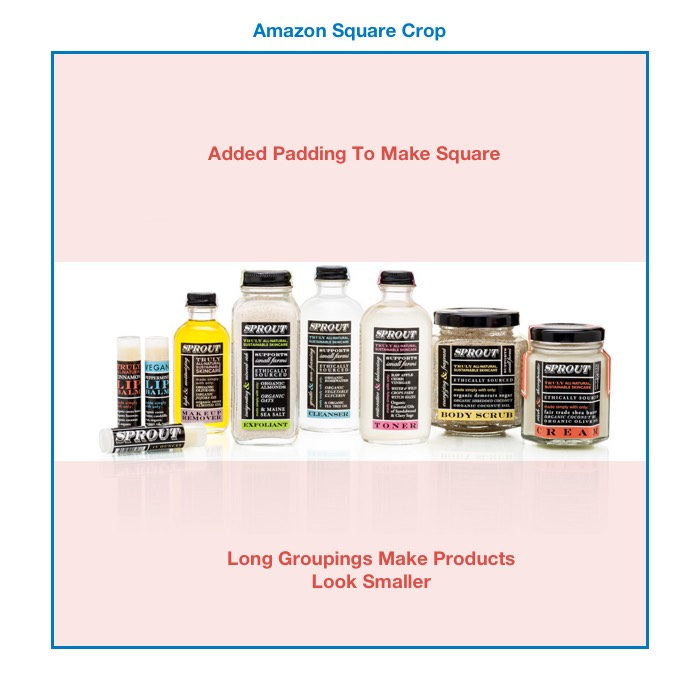 Longer arragements can make your products look smaller on Amazon
