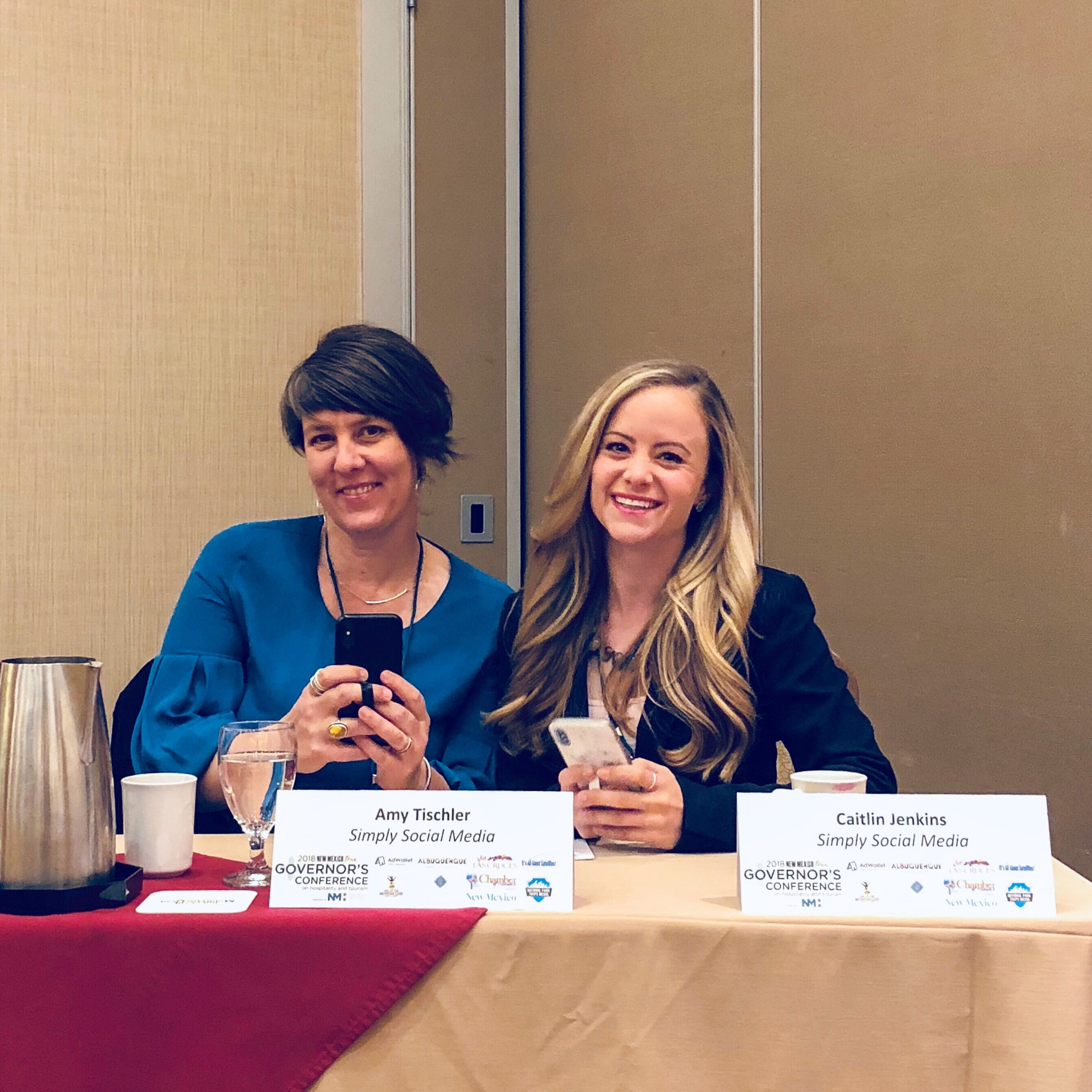 """Amy Tischler and Caitlin Jenkins on the """"Social influencers, the travel writers of tomorrow"""" panel on May 8, 2018. Photo by Kitty Stebbins @this.kitty"""