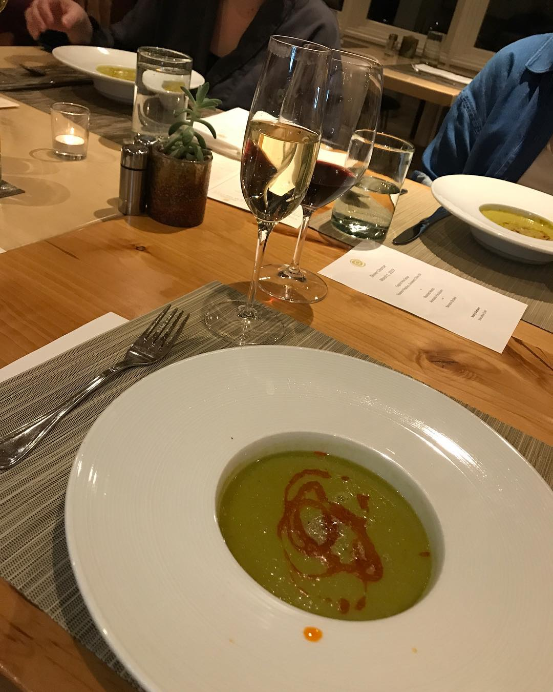 English Pea Soup with toasted pepitas and smoked chile oil