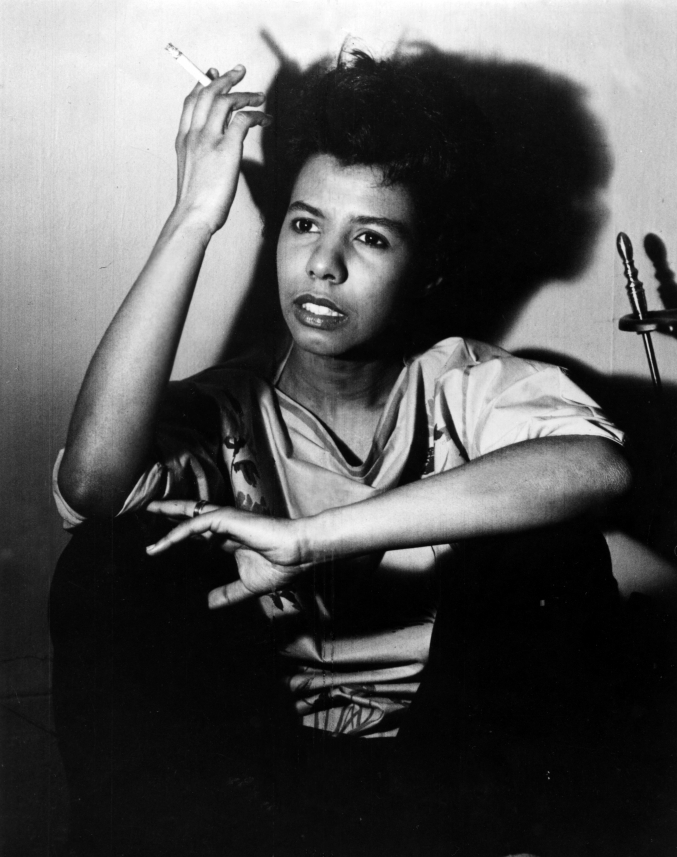 Portrait of African American poet and author Lorraine Hansberry holding a cigarette, 1960.  (Photo by Afro American Newspapers/Gado/Getty Images)