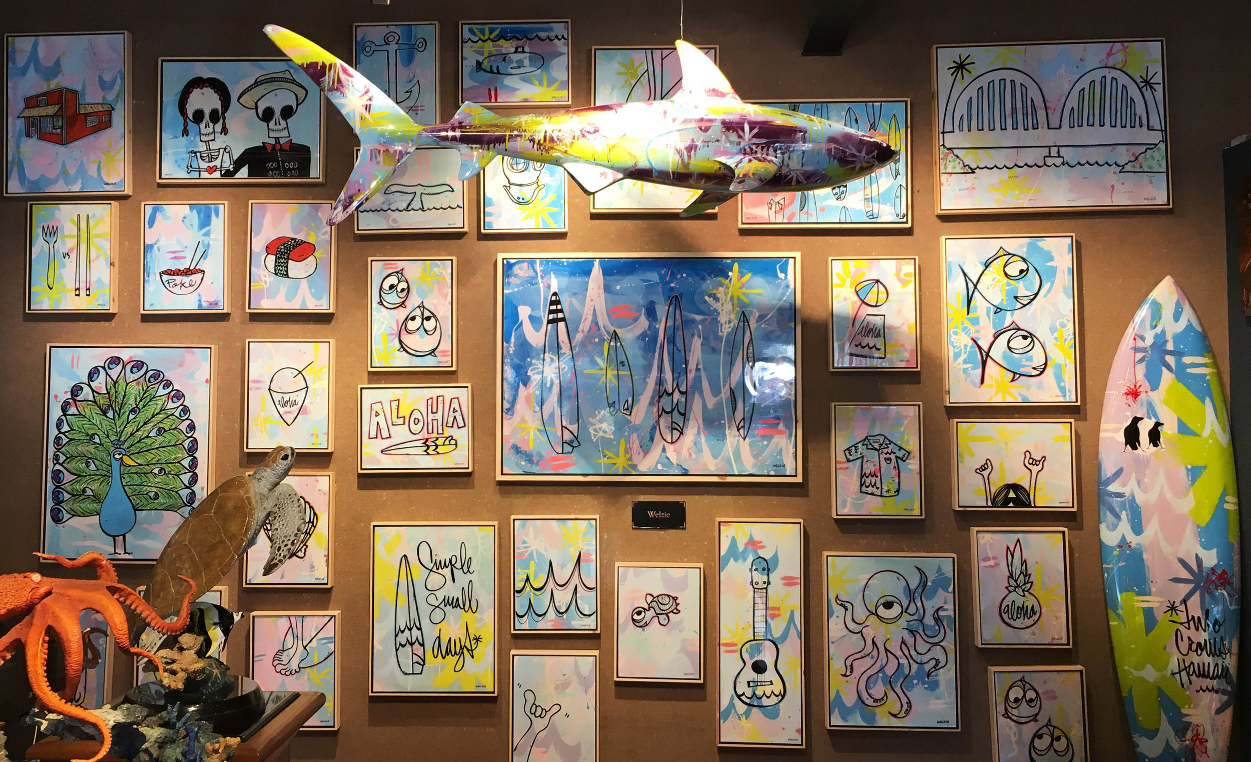 A beautiful Reef Shark hanging in the Wyland Art Gallery in Haleiwa.