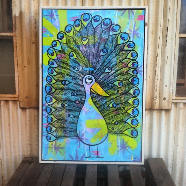 This is the Largest Peacock I have made out of resin art. After the last mural I started developing out the details in the feathers, giving them the little wave on the inside. I really like the background colors on this one as well.