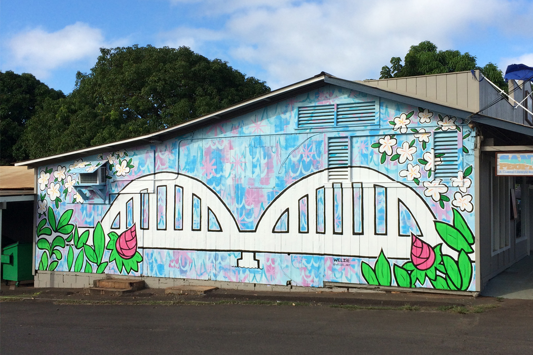 The finished Anahulu Bridge Mural in Haleiwa, Hawaii