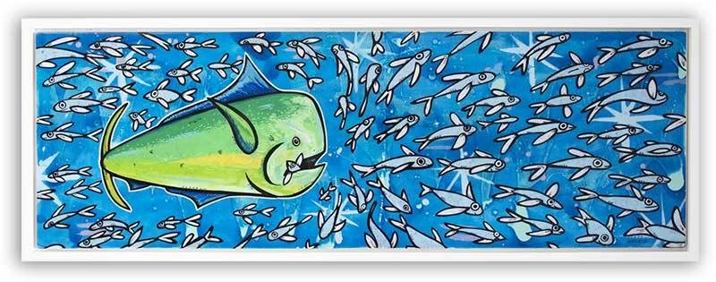 """The """"Mahi Smash"""" was a commissioned for a collector who wanted his idea of a Mahi Mahi striking a school of fish. The little fish in his mouth was a request form the collector and turned out amazing, giving this piece so much action and character."""