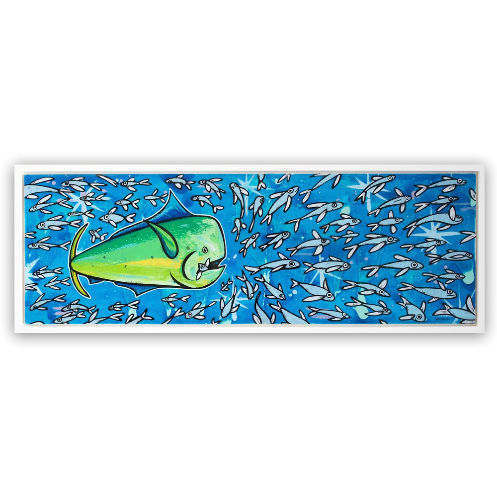 One of Welzie's favorite commissions. The collector liked the Mololo fish but had the idea of a Mahi Mahi going after the school. Welzie played around with a few drawing before finally getting it right. When the collector was shown the piece for final approval he asked if the Mahi could have a fish in the mouth. It was such a great addition to the piece that made everyone smile. The outcome of a great collaboration.